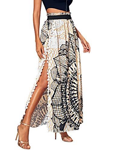 SheIn Women's Summer Boho Floral Print Fringe Split Thigh Full Length Maxi Skirt Multicolor Large