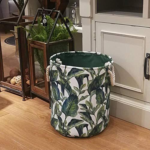 LCZMQRCLMZRQ Leaf canvas mode wasmand tas grote opvouwbare vuile kleding diverse speelgoed opbergmand doos, groen