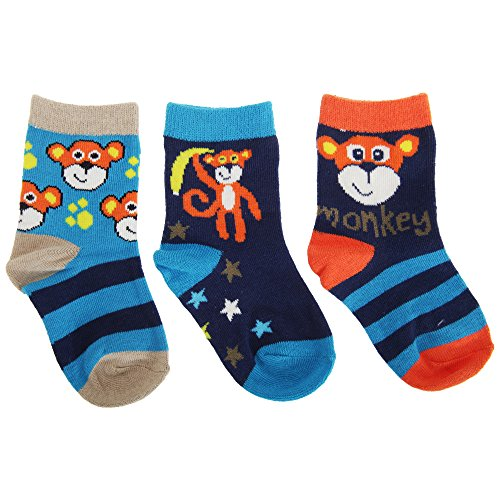 Universaltextilien Baby Jungen Socken mit Affen Motiv (3er Packung) (15 EU) (Marineblau/Blau/Orange)