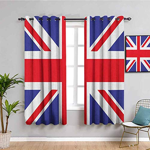 Union Jack Thermal Insulated Room Darkening Curtains, Curtains 63 inch Length Classic Traditional Flag United Kingdom Modern British Loyalty Symbol Cafe Curtain Royal Blue Red White W63 x L63 Inch