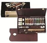 Rembrandt Oil Color Paint Professional Wood Box Set, 12x40ml Tubes + 1x60ml Tube + 11 Accessories