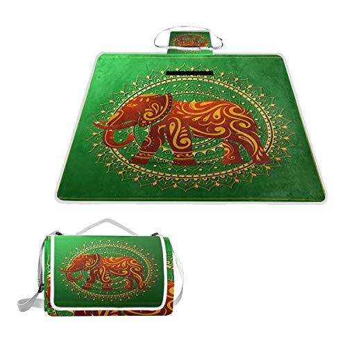 TIZORAX Couverture de Pique-Nique imperméable pour extérieur Motif éléphant Indien