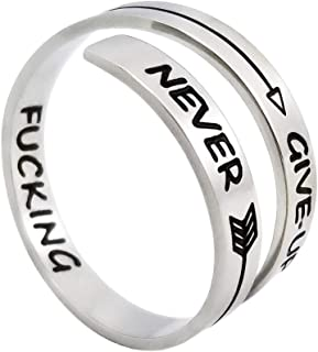 Corner Boss Stainless Steel Ring Hiphop Gold Bands Cool Stacking Rings Never Give Up Inspired Jewelry