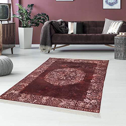 Carpet City bedrukt tapijt, vlakpolig, polyester, wasbaar, klassiek, vintage ornamenten, meisander Bordo crème, 80 x 200 cm