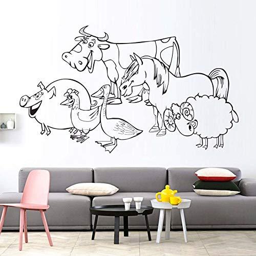 Eine gruppe von schwein mutter ente kuh pferd schaf wandbild kinderzimmer tier hohl vinyl wandkunst aufkleber 74 * 43 cm