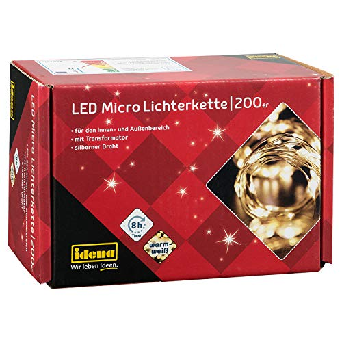 Idena 31857 - LED Micro Lichterkette mit 200 LED in warmweiß, 8 Stunden Timer Funktion, Stecker und Transformator, ca. 24,9 m lang, für Partys, Weihnachten, Deko, Hochzeit, als Stimmungslicht