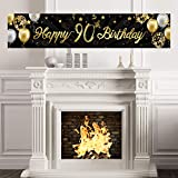 Happy 90th Birthday Banner Sign Gold Glitter 90 Years Birthday Party Decorations Supplies Anniversary Celebration Backdrop