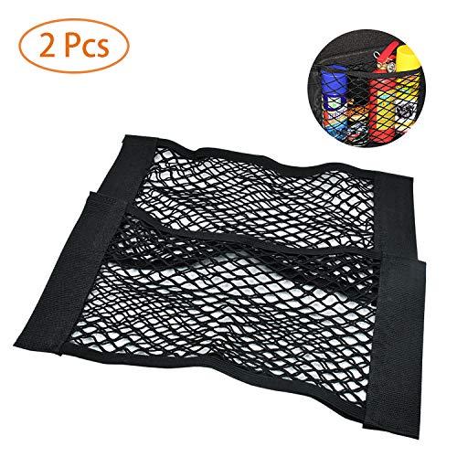 NATEE 2 x Kofferraum Netztasche, Nylon Gepäcknetz Aufbewahrungnetz Schutznetz, Elastischer Netz Organizer mit Klettstreifen, 25 x 50cm