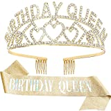 Birthday Queen Crown and Birthday Queen Sash Kit, Aprince Birthday Crowns for Women Girls Birthday Decorations for Women Tiara for Girl Gold Crown and Birthday Sash Happy Birthday Party Decorations