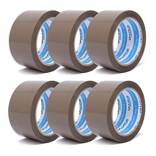 gws Paket-Klebeband PP leise Verpackungsband geräuscharm abrollend | Packband mit hoher Klebkraft in Profi-Qualität | versch. Farben | Länge: 66 m | Breite: 50 mm | Dicke: 50 μm (6 Rollen - braun)