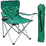 Mojawo Silla plegable para camping, pesca, director, con soporte para bebidas y bolsa, soporta hasta 120 kg, color verde