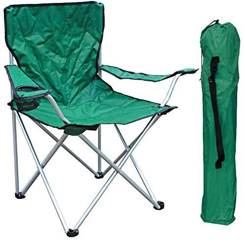 FineHome Campingstuhl Anglersessel Anglerstuhl Faltstuhl Regiestuhl Grün inkl. Getränkehalter und Tasche belastbar bis 120kg