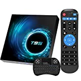 Android 10.0 TV Box with Backlit Wireless Mini Keyboard, T95 TV Box Allwinner H616 Quad-Core ARM Corter-A53 CPU Mali G31 MP2 GPU 2GB RAM 16GB ROM 6K Resolution 2.4GHz/5GHz WiFi BT5.0