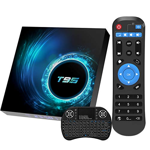 Android 10.0 TV Box, T95 Android Box 2GB Ram 16GB Rom H616 Quad-core with Wireless Mini Keyboard, Support 6K 3D H.265 Ethernet 2.4G 5G Dual Wifi BT5.0