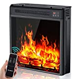 18'' Electric Fireplace Insert Heater with LED Realistic Adjustable Flame Effect, Fireplace Stove Heater with Remote, 1H to 9H Timer Overheat Protection, Quiet Fireplace for Bedroom Home Office 1400W