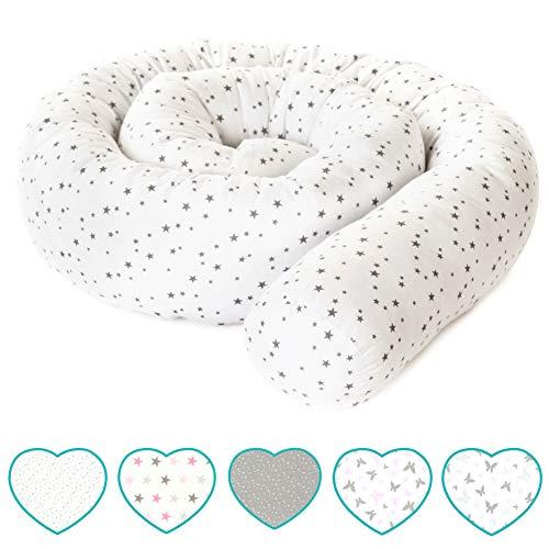 mimaDu® Babybettschlange, Nestchen, Bettrolle, Bettumrandung für Kinderbett - weich und kuschelig - ÖKO-Tex zertifizierte Baumwolle -210x10cm- Sternenmuster
