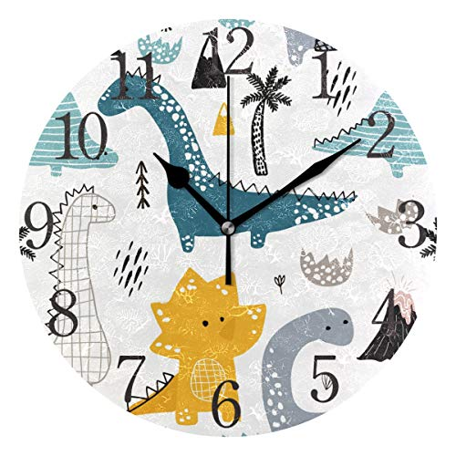 ISAOA Weihnachts-Wanduhr, 23,9 cm, leise, Nicht tickend, 1 Dino, skandinavischer Stil, dekorative Wanduhren, Kinderzimmer, Wohnzimmer, Geschenke, einfach zu lesende Uhren