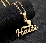 n a Acier Inoxydable Haïti Carte Pendentif Colliers pour Femmes Filles Amoureux De Fiançailles Bijoux Couleur Or Haïti Bijoux Cadeaux