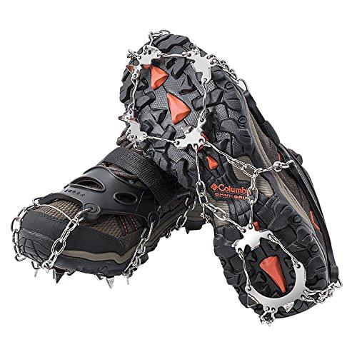 AUHIKE Steigeisen 18 Zähne Klauen rutschfeste Schuhhülle mit Edelstahlkette zum Wandern auf Schnee und EIS Schneekette Schneeketten (M)