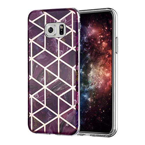 Misstars Hülle für Galaxy S7 Edge, Bling Glitzer Geometrischer Marmor Muster TPU Silikon Weiche Schutzhülle Slim Handyhülle Kompatibel mit Samsung Galaxy S7 Edge, Lila