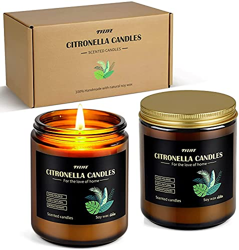 Citronella Candles Outdoor Indoor, Large Scented Jar Candles Gift Set up to 100 Hours Burning, Soy...