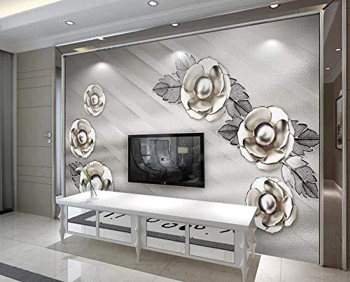 Pared de fondo de TV de flor de flor de joyería de metal 3D ligera y elegante-300 * 210cm