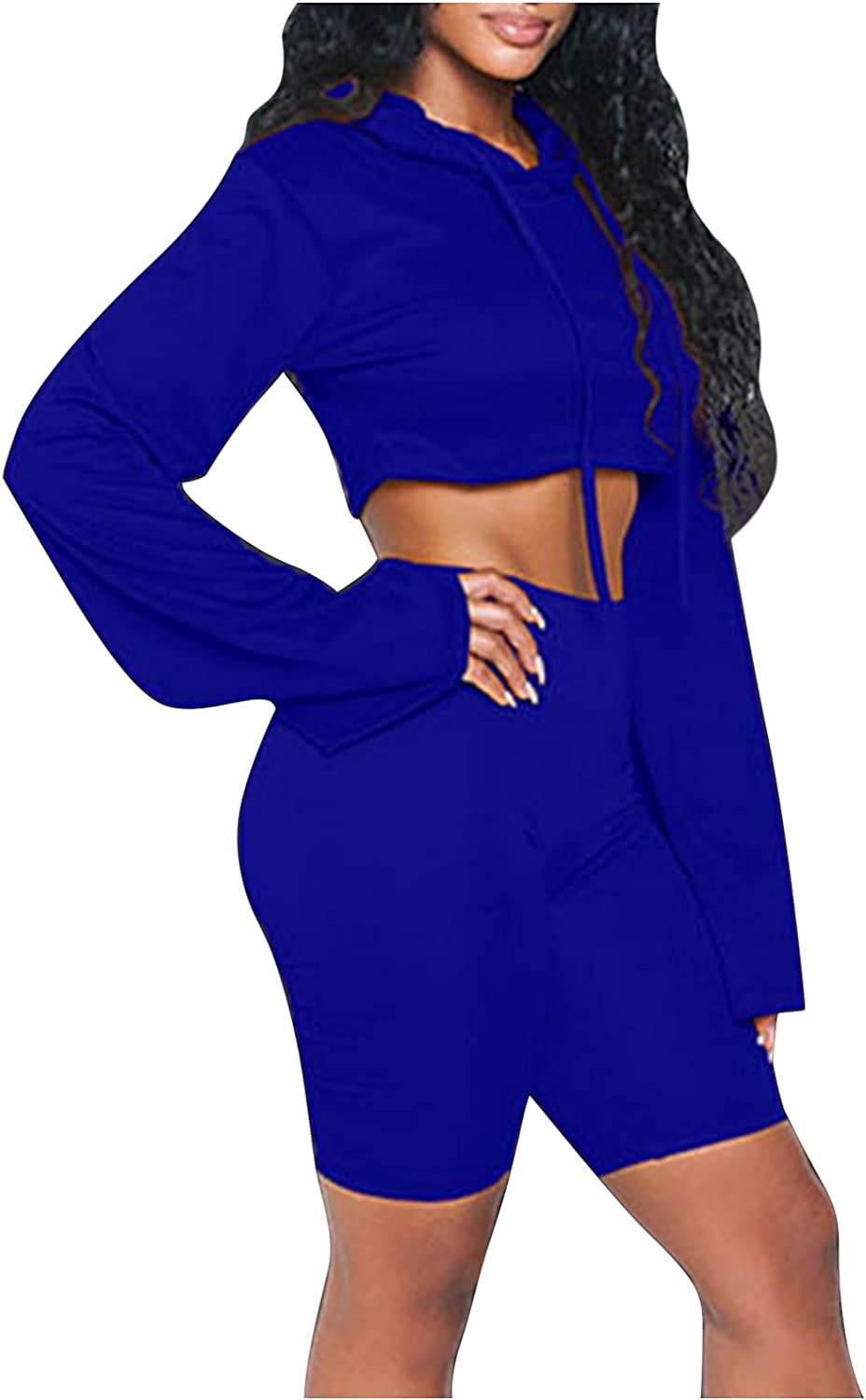Women Suits Sets, Women Fashion Casual Solid Color Hooded Long Sleeves 2 Piece Sports Suit