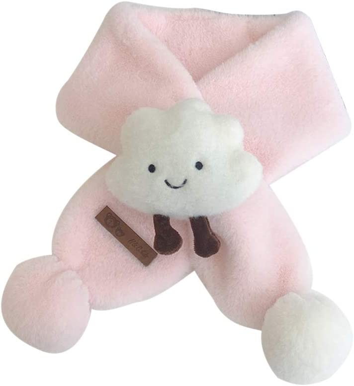 redcolourful Unisex Baby Cozy Supplies, Children's Scarf Cartoon Cloud Solid Color Thick Warm Plush Scarf Pink 7810cm