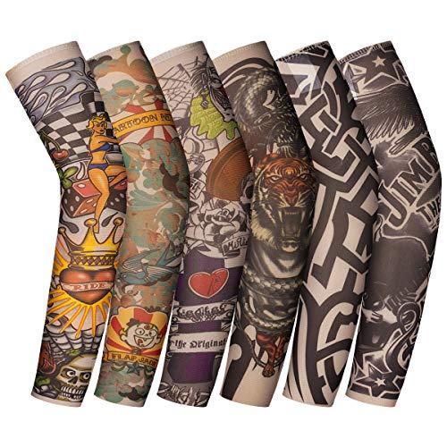 ANSUG 6 piezas mangas de tatuaje para niños mangas de tatuaje falsas temporales medias de protección de brazos para punk cool child, fiesta de disfraces