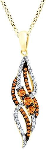 Halskette mit Anh er 10 Karat massives Gold, Rundschliff, Braun Weiß