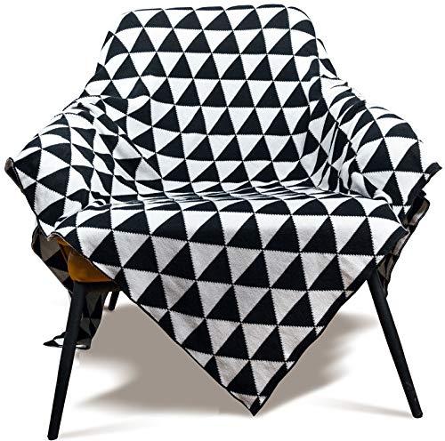 MYLUNE HOME 100% Baumwolle Stilvolle Strickdecke für Fernsehen oder Nap auf dem Stuhl, Sofa und Bett 130 * 160cm...