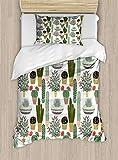 ABAKUHAUS Kaktus Funda Nórdica, Las suculentas Macetas, Decorativo, 2 Piezas con 1 Funda de Almohada, 130 cm x 200 cm, Multicolor