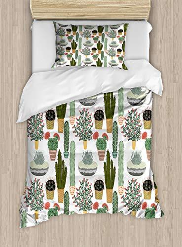 ABAKUHAUS Cactus Dekbedovertrekset, Vetplanten Bloempotten, Decoratieve 2-delige Bedset met 1 siersloop, 130 cm x 200 cm, Veelkleurig