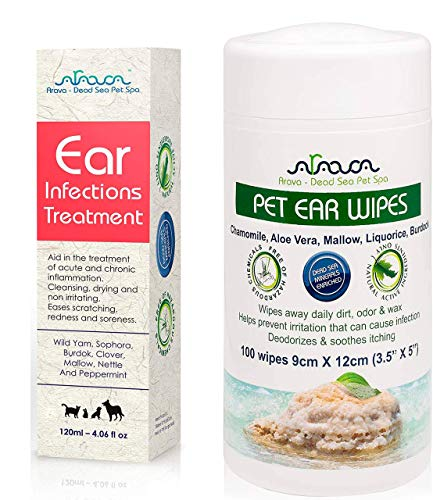 Arava Natural Ear Infection Treatment and Ear Cleaner Wipes  for Cats amp Dogs  Pet Otic Ear Care Solution  Antibacterial Antifungal Anti Yeast Anti Itch Effective Ear Cleaner Prevents Odors Itching