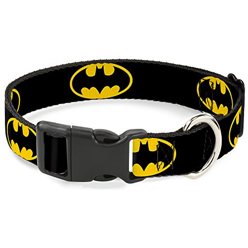 Buckle-Down Kunststoff-Halsband mit Clip, Batman-Schild, 2,5 cm breit, passend für Halsumfang von 38,1–66 cm, Schwarz / Gelb