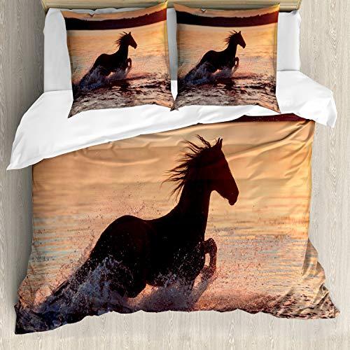 ABAKUHAUS Reiter Bettwäsche Set für Doppelbetten, Pferde Meer bei Sonnenuntergang, Weicher Microfaserstoff Allegigeignet kein Verblassen, Dunkelbraun Lachs