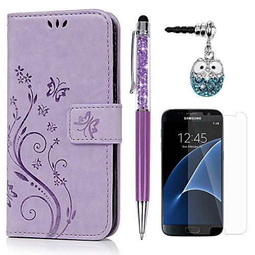 S7 Hülle Hülle KASOS Handyhülle Brieftasche Book Type PU Leder Tasche Gemalt Magnetverschluss Ledertasche Cover,Blume-Schmetterling Hell-lila + Stöpsel + Stylus + Schutzfolie für Samsung Galaxy S7
