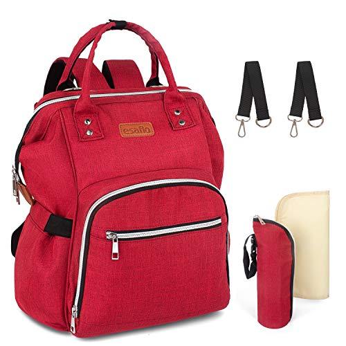 esafio Wickelrucksack Wickeltasche mit Multifunktional Groß Kapazität Babytasche Rucksack für Unterwegs, Rot