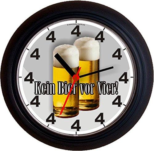 Lucky Clocks BIERUHREN KEIN Bier VOR Vier 4 KÖLSCH Geburtstag Vatertag Wanduhren für jeden Anlass neutral