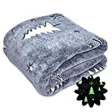 Glow in The Dark Throw Blanket for Kids Star Christmas Tree Blanket Soft Flannel Fleece Blankets and Throws for Bed Couch Sofa Adorable Gift for Boys Girls Teens 50 x 60 Inches Grey
