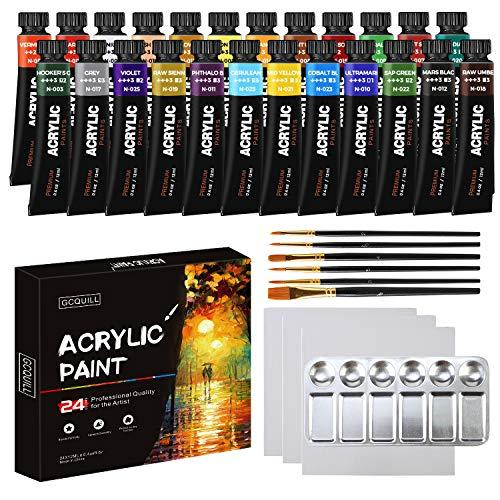 Acrylfarben Set mit 24 Färben/Tuben (12 ml),1 Mischpalette, 6 Künstlerpinsel, 3 stück Leinwand, für Hobbymaler, Kinder, Profis GC-AP24