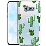 Qult Fundas para iPhone Compatible con Samsung Galaxy S10e – Funda de Silicona Transparente con Lindos Motivos – Fundas iPhone Ultra Finas Cactus con Flores