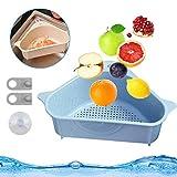 Waschbecken Filterablage Dreieck Lagerregal, Seiher Sieb Abtropfsieb Set, Spülbecken Sieb über Spüle, Gemüse/Obst Küche Sieb Teesieb mit Ausziehbaren Griffen (Blau)