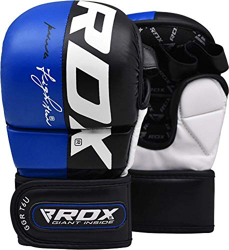 RDX MMA Gloves for Martial Arts Training & Sparring | Palm-O Maya Hide Leather Grappling Mitts |Good for Kickboxing, Muay Thai, Cage Fighting, Punching Bag