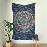 MOMOMUS Tapiz Mandala Indio - 100% Algodón, Grande, Multiuso - Tapices de Pared Decorativos Ideales para la Decoración del Hogar, Habitación o Salón - Azul A, 135x210 cm