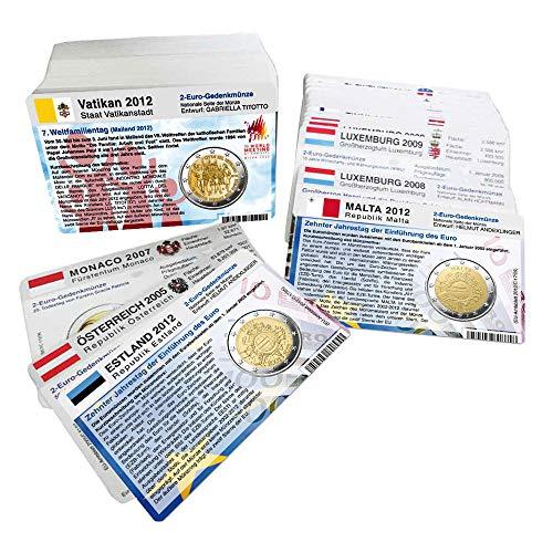 Set - 187 Münzkarten (ohne Münze) ab 2004 für 2-Euro Gedenkmünzen alle Länder vorgestanzte Münzbilder ohne 2 Euro Gedenkmünzen