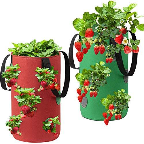 Erdbeer Pflanzen Tasche, ZoneYan Pflanzbeutel Aus Erdbeer, Atmungsaktive Erdbeere Tasche, Hängend Erdbeere Pflanzsack, Erdbeere Grow Tasche, Planting Grow Bag, Strawberry Plant Bag, 2 Pack