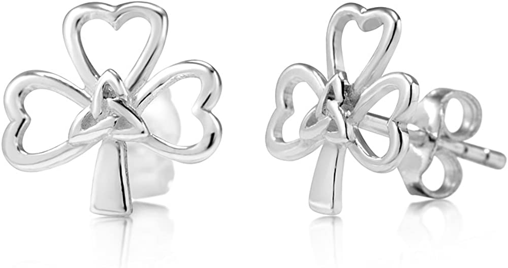 925 Raleigh Mall Sterling Fashion Silver Tiny Shamrock Stud Knot Celtic Earrings