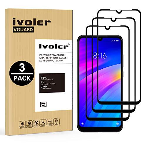 VGUARD [3 Unidades] Protector de Pantalla para Xiaomi Redmi 7 / Xiaomi Redmi Y3 / Xiaomi Redmi S3, [Cobertura Completa] Cristal Vidrio Templado Premium, [Dureza 9H] [Anti-Arañazos] [Sin Burbujas]