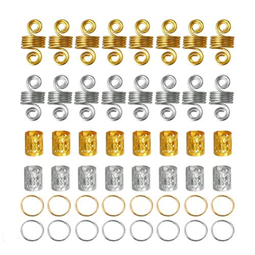 nuoshen 120 Pieces Hair Jewelry Rings, Adjustable Metal Cuffs Aluminum Dreadlocks Beads for Braiding Hair Decorations Pendants